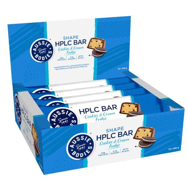 Aussie Bodies: HPLC Bar - Cookies & Cream Fudge (12 x 100g)