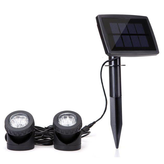 Solar LED Garden Fountain Pool Dual Spotlight
