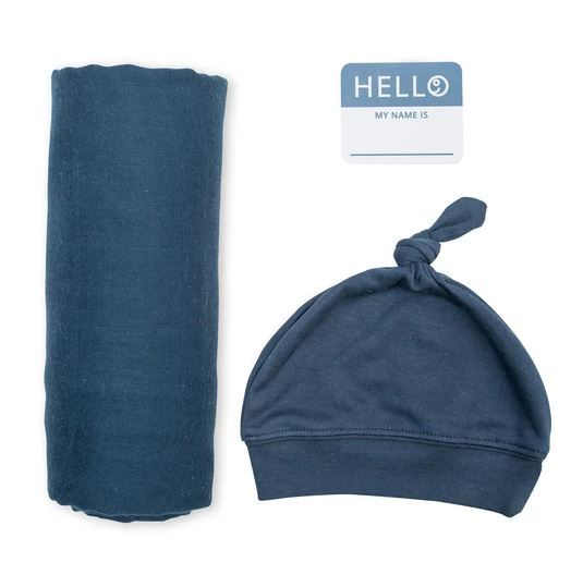 Lulujo: Bamboo Hat and Swaddle Blanket - Navy