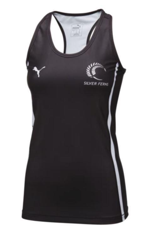 Puma Silver Ferns Training Singlet Black/White (Medium)