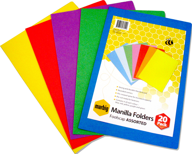 Marbig Foolscap Manilla Folders - Assorted Colours (Pkt 20)