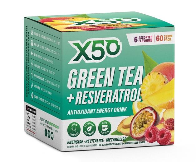 Green Tea X50 + Resveratrol - Assorted (60 Serves)