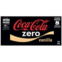 Coke Zero Vanilla Soft Drink Cans - 8 Pack (330ml)
