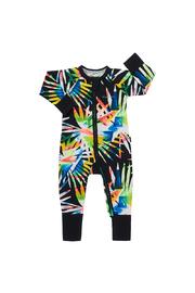 Bonds Zip Wondersuit Long Sleeve - Confetti Palm Black (12-18 Months)