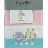 Bubba Blue: 3pc Cot Sheet Set - Pink Owl