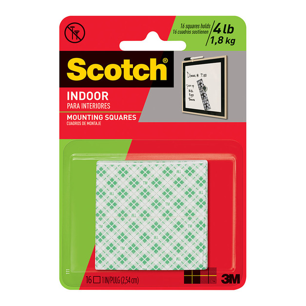 Command: Scotch Mounting Squares 111/DC Indoor Permanent - 16 Pack/25 mm Pk