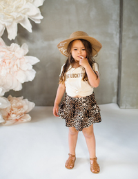 Karibou Kids: One Lucky Girl' Kids Cotton T-shirt - Almond Kiss 5YRS