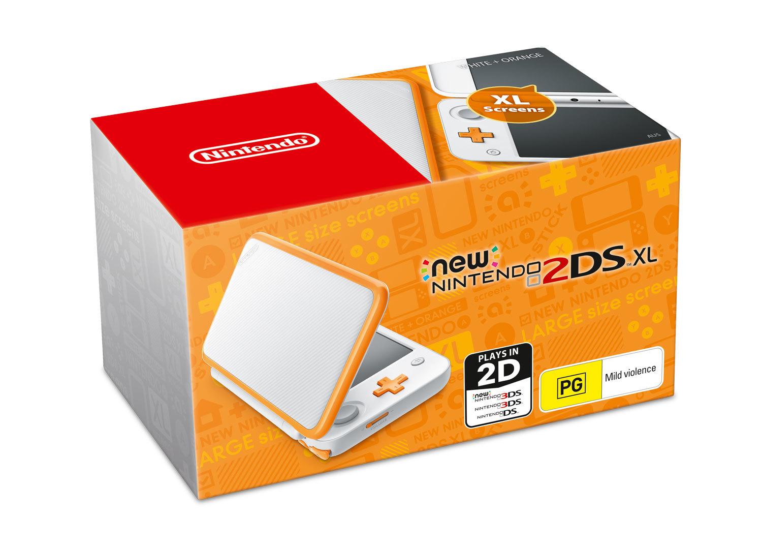 new nintendo 2ds xl white orange nintendo 3ds in. Black Bedroom Furniture Sets. Home Design Ideas