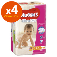 Huggies Ultra Dry Nappies Bulk Value Box - Size 3 Crawler Girl (176)