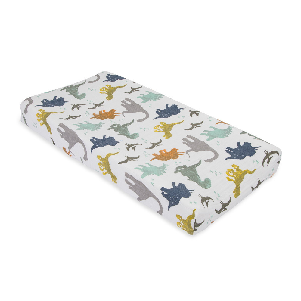 Little Unicorn - Muslin Changing Pad Cover - Dino Friends image