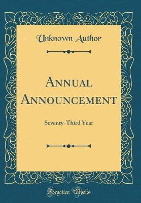 Annual Announcement by Unknown Author image