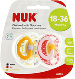 NUK: Classic Happy Kids Latex Soothers - Size 3 (2 Pack) - Yellow Boats/Pink Bows
