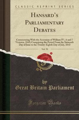 Hansard's Parliamentary Debates, Vol. 70 by Great Britain Parliament image
