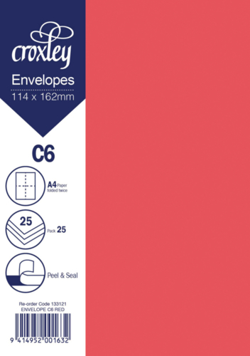 Envelope C6 Red - 114x162mm (Pack 25)