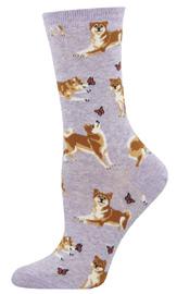 Socksmith: Women's Shiba Inu Crew Socks - Purple Heather
