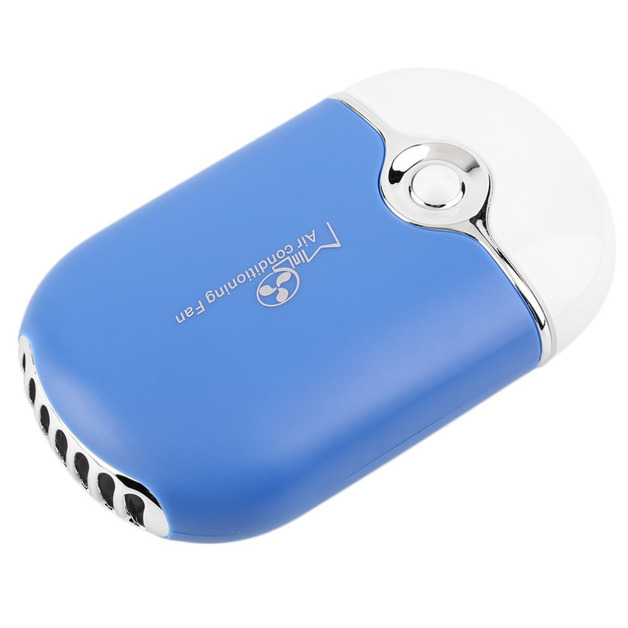 Portable Handheld Mini Air Conditioner USB Rechargeable Cooling Fan - Blue