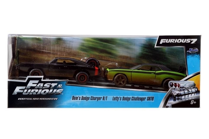 Jada FF Twin Pack: Dom's Dodge Charger & Letty's Dodge Challenger 1:32 Diecast Models image