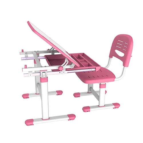 Brateck: Kids Height Adjustable Desk & Chair Set- Pink