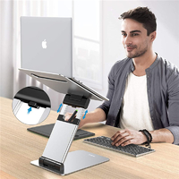 Aluminium Height Adjustable Ergonomic Laptop Stand - (Silver)