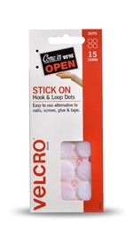 VELCRO Brand Hook & Loop Stick On Mini Dots Set of 15 (30 Dots) White