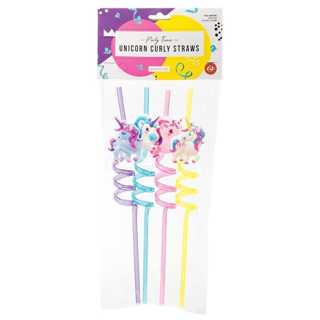 IS GIFT: Unicorn reuseable Curly Straws