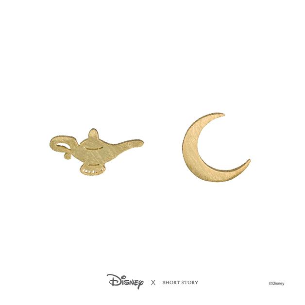Short Story: Disney Earring Jasmine Lamp and Moon - Gold