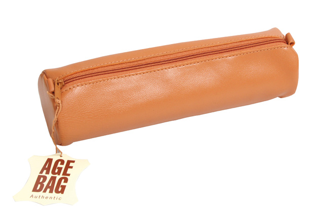 Age-Bag Large Round Leather pencil Case - Tan