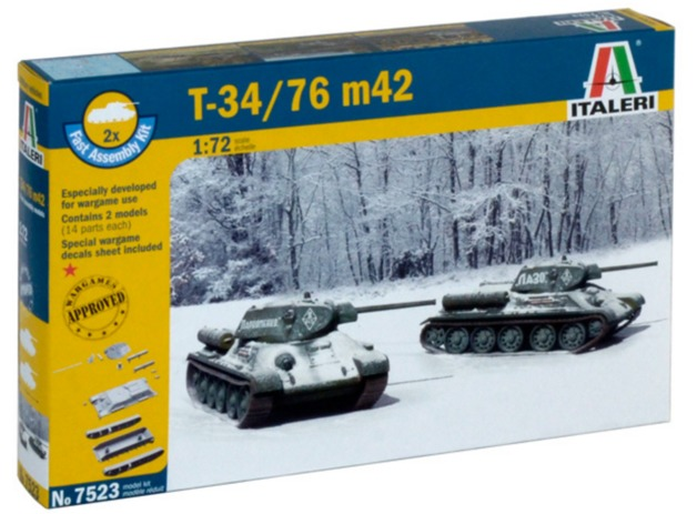 Italeri: 1/72 T34/76 Mod. 42 Tanks - Fast Assembly Kit