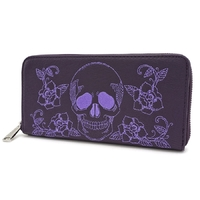 Loungefly: Floral Skull Purple Zip-Around Wallet
