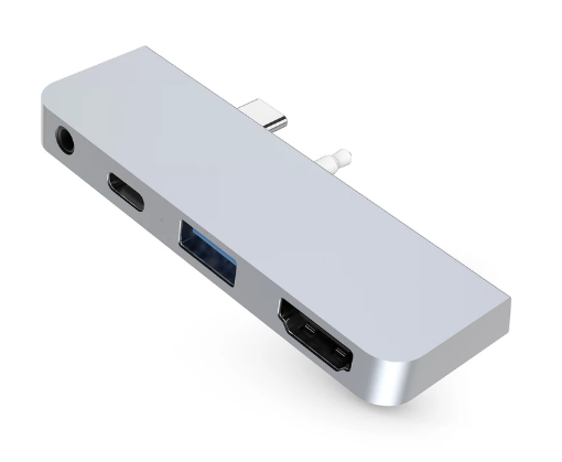 HyperDrive: 4-in-1 USB-C Hub for Surface Go - Silver