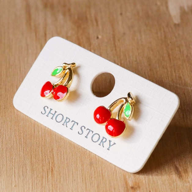 Short Story: Funky Play Earrings - Cherry