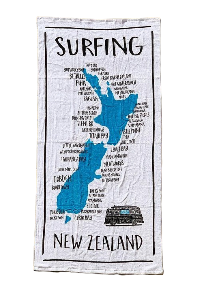 Moana Road: Beach Towel - NZ Map Surfing Towel