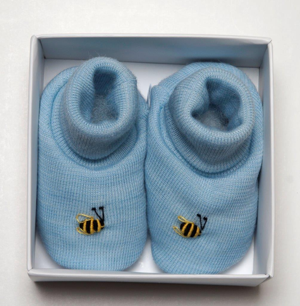 Dimples: Gift Boxed - Merino Pastel Marl Booties - Blue (3-6 Months) image