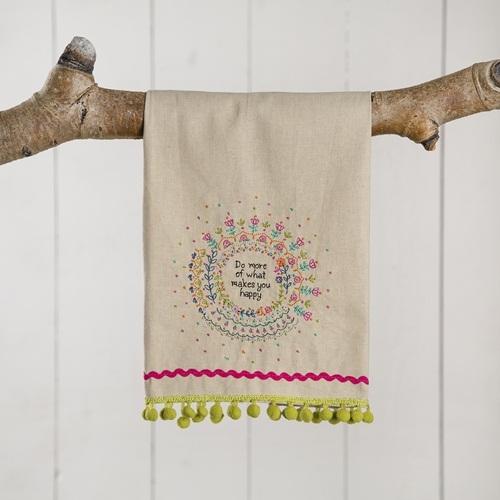Natural Life: Linen Tea Towel - Do More Of Happy
