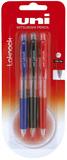 Uni Laknock Pen Fine Assorted Pack of 3