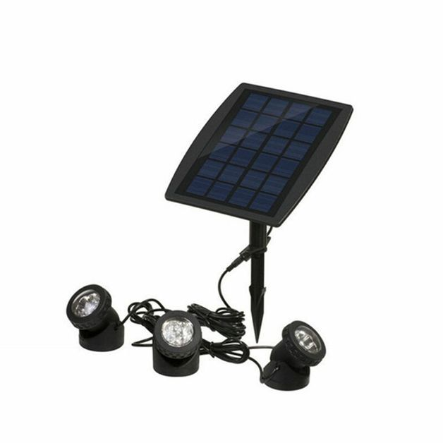 Solar LED Garden Fountain Pool Triple Spotlight