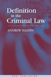 Definition in the Criminal Law by Andrew Halpin image