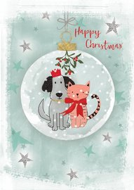 Hammond Gower: Dog & Cat In Bauble - Greeting Card