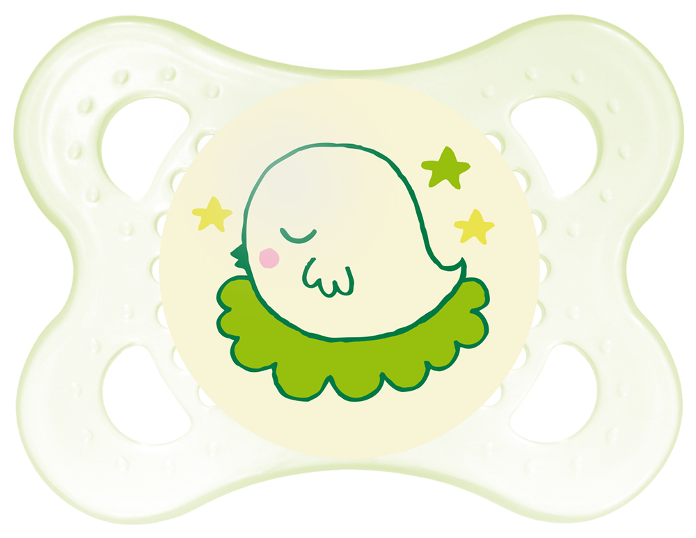 MAM Night Silicone Soother 0-4 Months - 2 Pack (Green) image