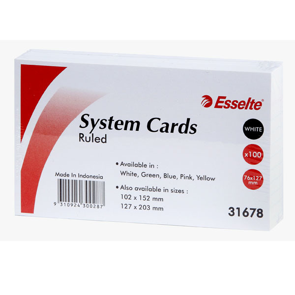 Esselte Lined System Cards - White (100 Pack)