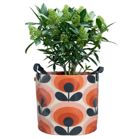 Orla Kiely Large Fabric Plant Bag 70s Flower Oval (Persimmon)