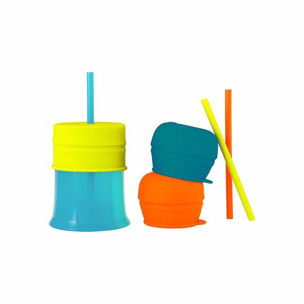 Boon Snug Straw with Cup - Green/Blue/Orange
