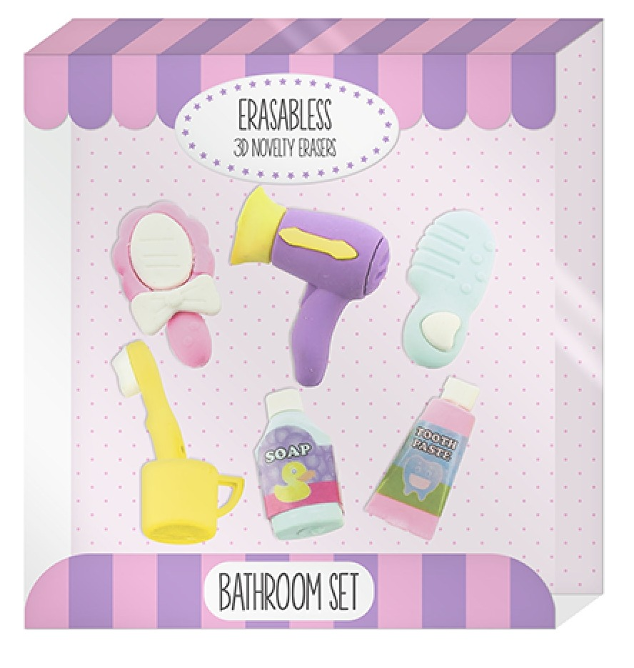 Erasables: Bathroom Eraser Set
