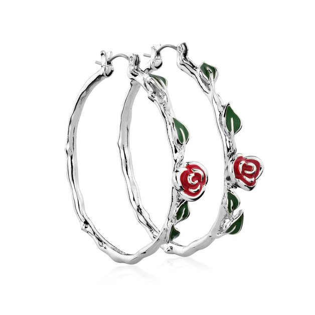 Disney Beauty and the Beast Rose Hoop Earrings - White Gold