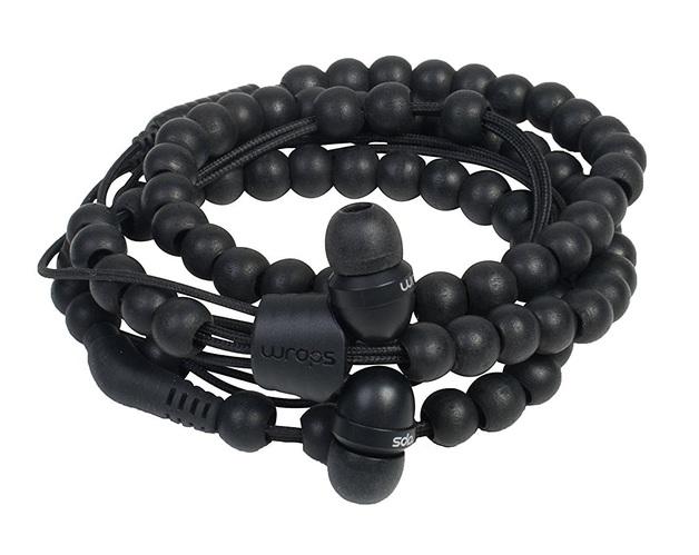 Wraps: Wristband Headphones - Natural Ebony Beads