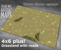 Cigar Box Battle Mats: Grasslands with Roads (15mm)