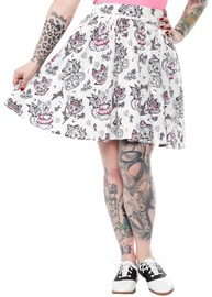 Sourpuss Creep Heart Swing Skirt (X-Large)