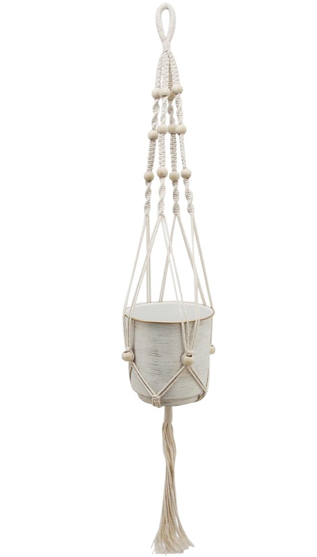 White Gold Beaded Hanging Planter