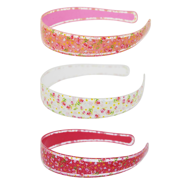 Pink Poppy: Floral Print Glitter Headband - (Assorted Colours)
