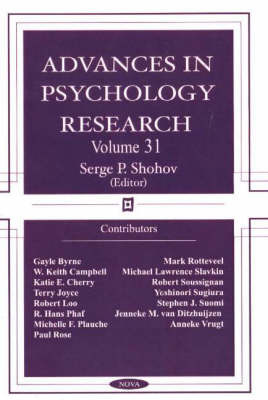 Advances in Psychology Research: v. 31 image